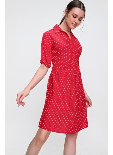 Pink Park Gömlek Yaka Puantiye Desenli Dokuma Viskon Elbise RD00018 Kırmızı